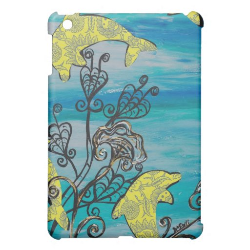 Yellow Dolphins Cover For The iPad Mini