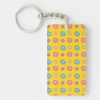 Yellow donut pattern rectangle acrylic keychain