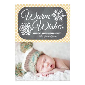 Yellow Dot Chalkboard Snowflake Holiday Photo Card Custom Invitation