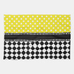 Yellow Dot Checkerboard Hand Towel