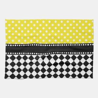 Yellow Dot Checkerboard Hand Towel