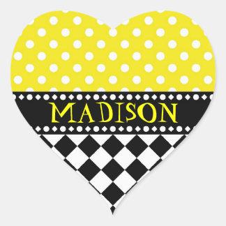 Yellow Dot Checkerboard Heart Sticker