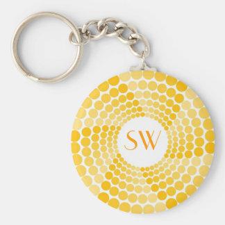 Yellow Dot Swirl Basic Round Button Keychain