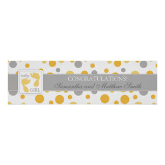 Yellow Dots & Foot Prints Girl Baby Shower Banner Poster
