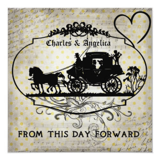 """Yellow Dots From This Day Forward  Wedding Invite 5.25"""" Square Invitation Card"""