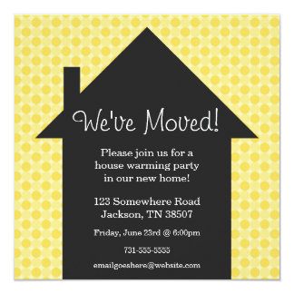 """Yellow Dots House Warming Party Invitations 5.25"""" Square Invitation Card"""