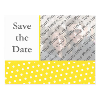 Yellow Dots Wedding Save the Date Photo Postcard
