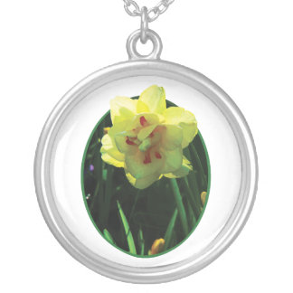 Yellow Double Daffodil Round Pendant Necklace