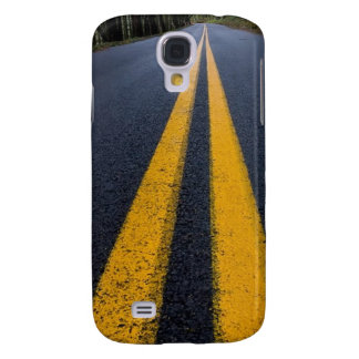 YELLOW DOUBLE LINE PAVEMENT ROADS TRAVELING PHOTO SAMSUNG GALAXY S4 COVER