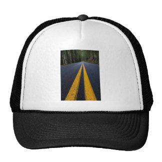 YELLOW DOUBLE LINE PAVEMENT ROADS TRAVELING PHOTO TRUCKER HAT
