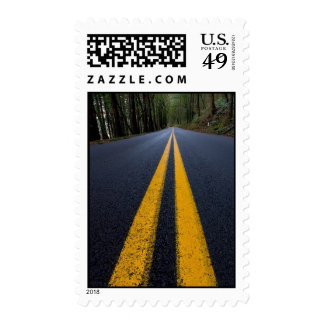 YELLOW DOUBLE LINE PAVEMENT ROADS TRAVELING PHOTO POSTAGE STAMP
