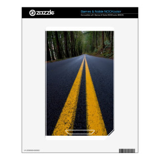 YELLOW DOUBLE LINE PAVEMENT ROADS TRAVELING PHOTO DECAL FOR THE NOOK COLOR