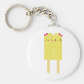 Yellow Double Popsicle Basic Round Button Keychain