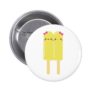 Yellow Double Popsicle 2 Inch Round Button