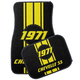 Yellow Double Race Stripes | Personalize Car Mat
