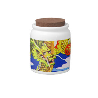yellow dragon cookie jar candy dishes