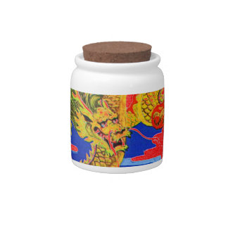 yellow dragon cookie jar candy jar