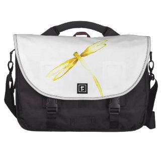 Yellow dragonflies design laptop computer bag