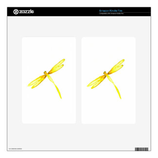 Yellow dragonflies design decals for kindle fire