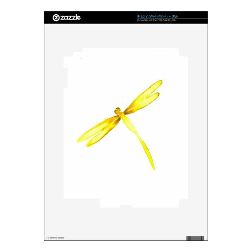 Yellow dragonflies design iPad 2 decals