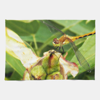 Yellow Dragonfly Hand Towels