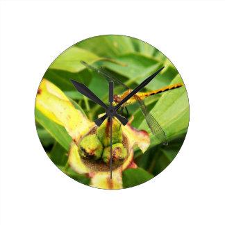 Yellow Dragonfly Round Clock