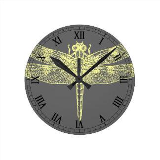 Yellow Dragonfly Round Clocks