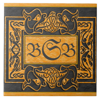 """Yellow Dragons Breath"" 3 Initial Monogram Tile"