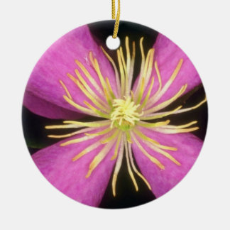 Yellow Dramatic Clematis flowers Christmas Tree Ornaments