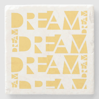 Yellow Dream Geometric Shaped Letters Stone Coaster