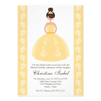 Yellow Dress Brunette Quinceanera Invitations