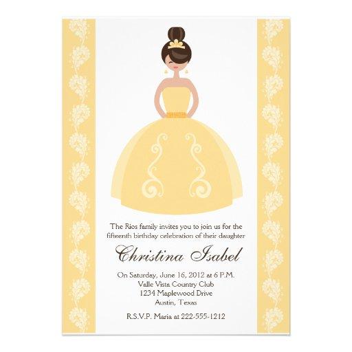 Yellow Dress Brunette Quinceanera Invitations