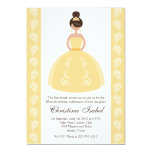 "Yellow Dress Brunette Quinceanera Invitations 5"" X 7"" Invitation Card"