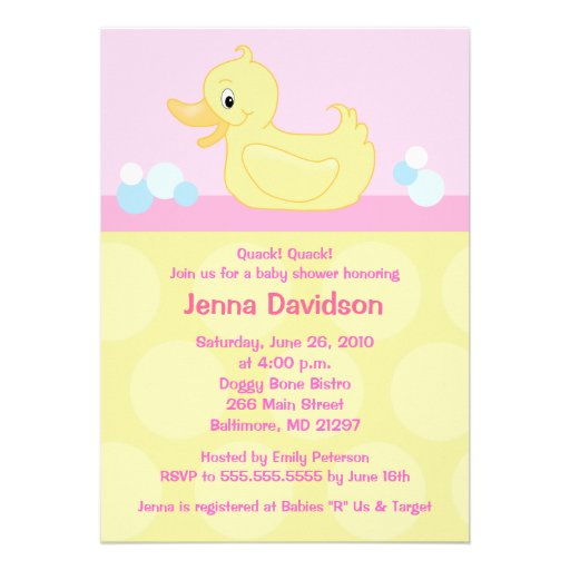 yellow duck 5x7 baby shower invitation pink 5 x 7 invitation ca