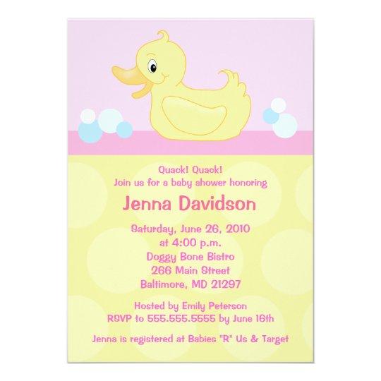 Yellow Duck 5x7 Baby Shower Invitation Pink