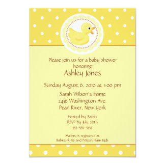 Yellow Duck Baby Shower 5x7 Paper Invitation Card