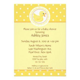 Yellow Duck Baby Shower Custom Invitations