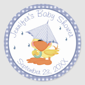 Yellow Duck Baby Shower Thank You Classic Round Sticker