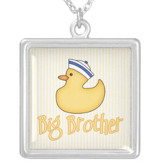Yellow Duck Big Brother Square Pendant Necklace