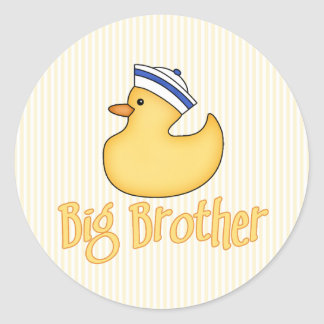 Yellow Duck Big Brother Classic Round Sticker