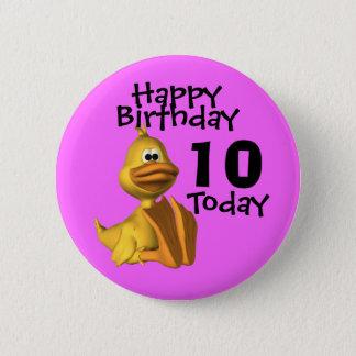 Yellow Duck Birthday 10 Pinback Button