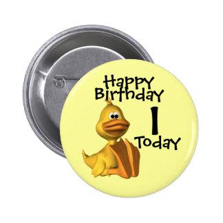 Yellow Duck Birthday 1 Pinback Button