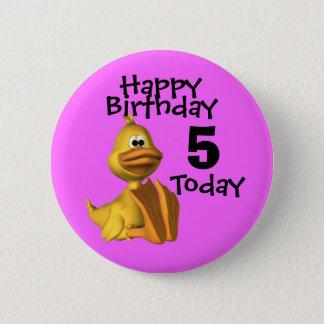 Yellow Duck Birthday 5 Pinback Button