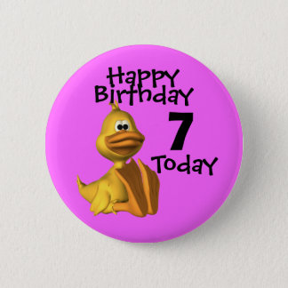 Yellow Duck Birthday 7 Pinback Button