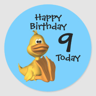 Yellow Duck Birthday 9 Classic Round Sticker
