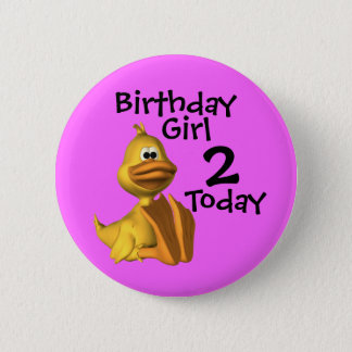 Yellow Duck Birthday  Girl 2 Button