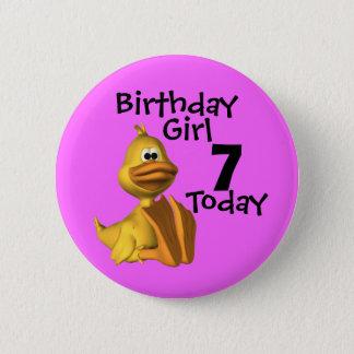 Yellow Duck Birthday  Girl 7 Pinback Button