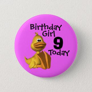 Yellow Duck Birthday  Girl 9 Button
