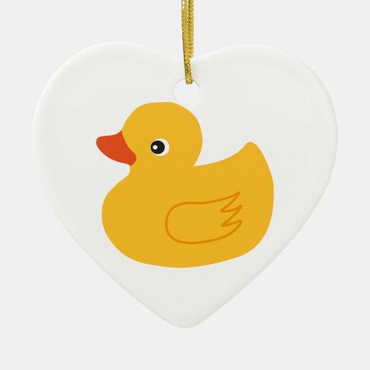 Yellow Duck Ceramic Ornament
