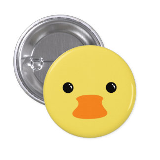 Yellow Duck Cute Animal Face Design 1 Inch Round Button